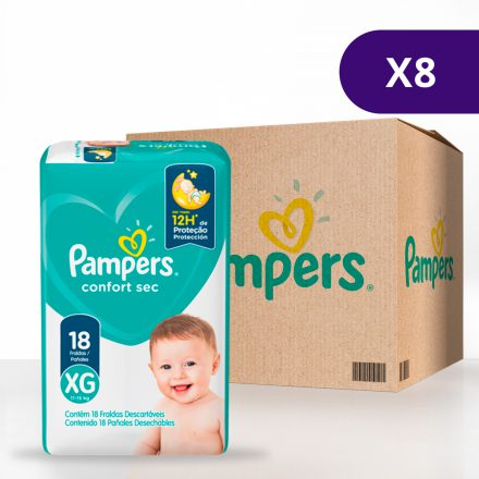 Pañales Pampers® Confort Sec™ - Caja de 8 paquetes Talla XG