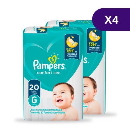Pañales Pampers® Confort Sec™ - Caja de 4 paquetes Talla G