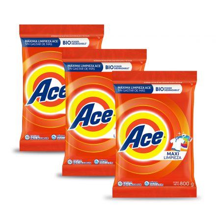 Detergente en Polvo ACE – 3 unidades de 800g
