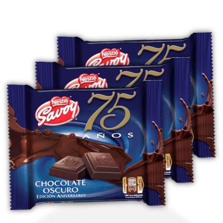 SAVOY® 75 Aniversario Chocolate Oscuro - 3 unidades de 100g