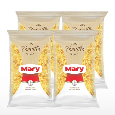 Pasta Premium Mary Tornillos - 4 unidades de 500g