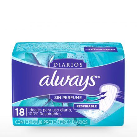 Always® Protectores Diarios sin Perfume - Paquete de 18 unidades