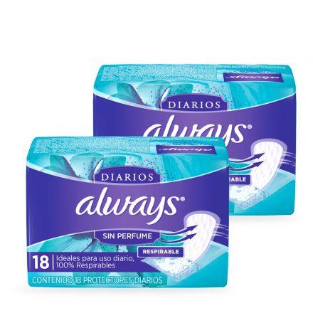 Always® Protectores Diarios sin Perfume - 2 Paquetes de 18 unidades