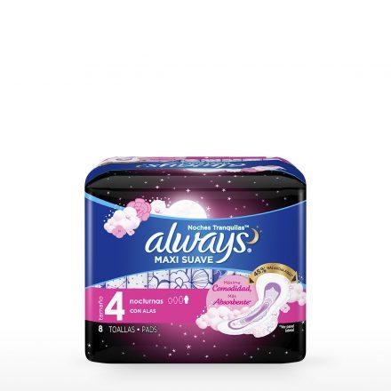 Toallas Sanitarias Always® Maxi Suave Noches Tranquilas - Paquete de 8 unidades