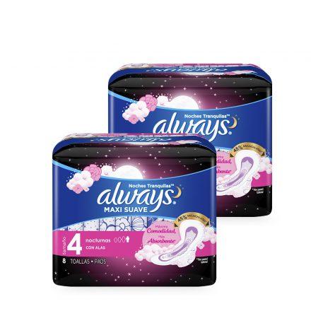 Toallas Sanitarias Always® Maxi Suave Noches Tranquilas - 2 Paquetes de 8 unidades