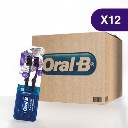 Cepillo Dental Oral-B® Advanced 5 Acciones con Carbón - Caja de 12 paquetes de 2 Pack