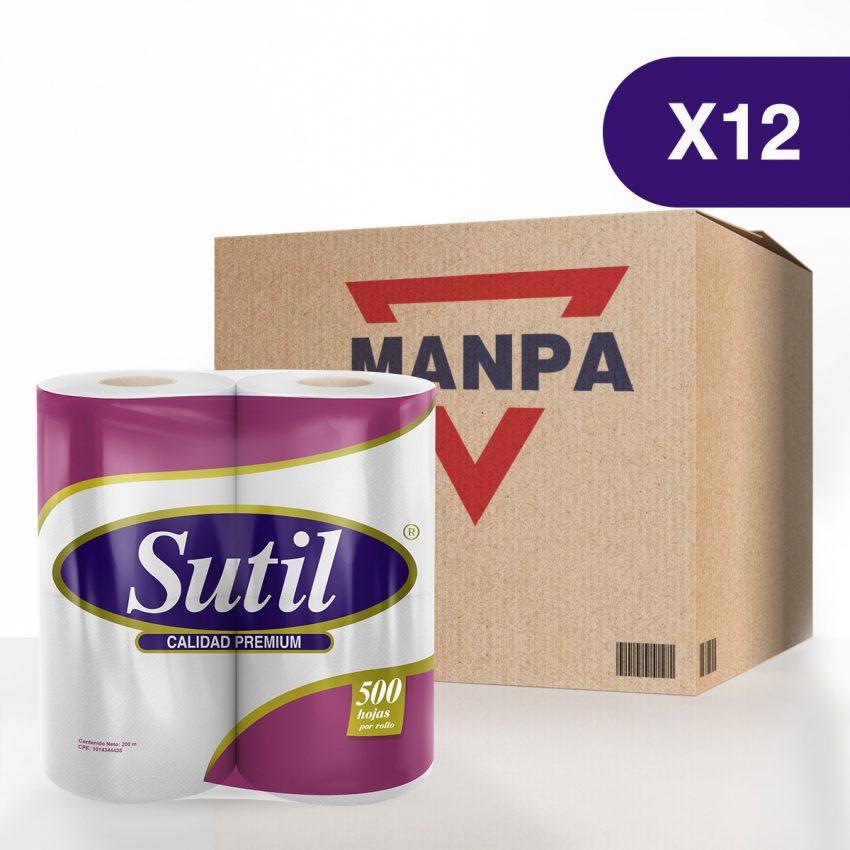 Papel Higiénico Sutil® Calidad Premium - Caja de 12 paquetes de 4 rollos