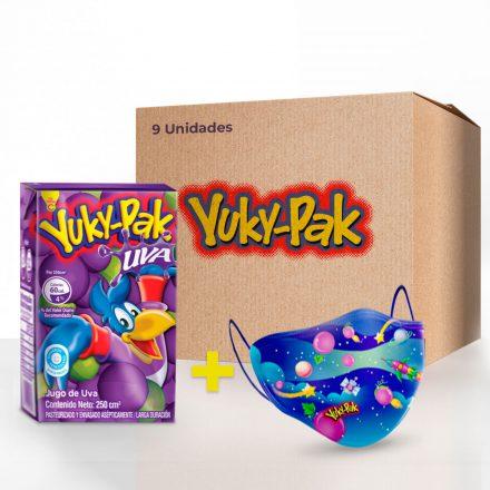 Combo 9 Yuky-Pak Sabor a Uva + Tapaboca Infantil