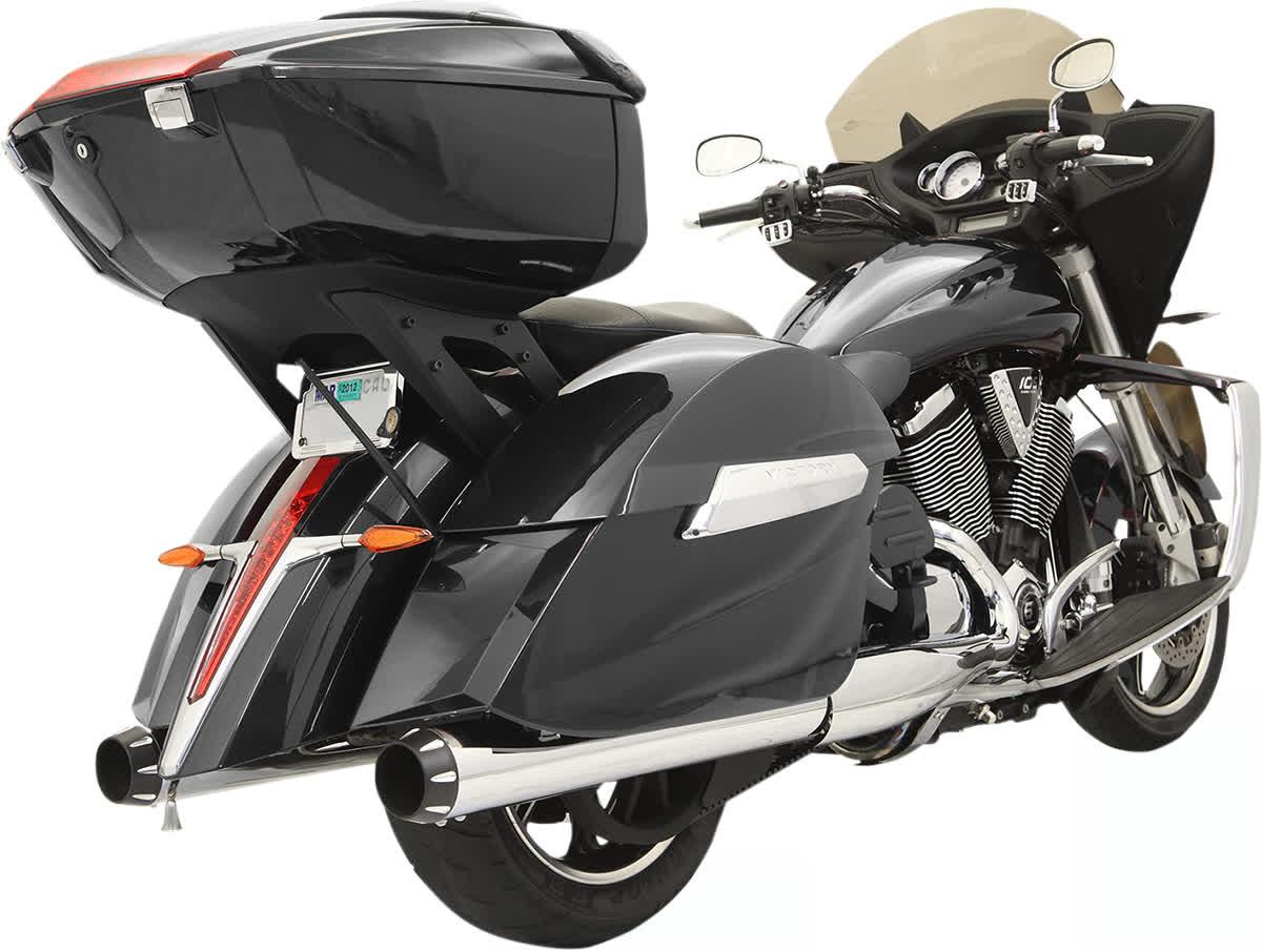 "Bassani 4"" Straight Slip-On Mufflers Victory X-Country Chrome 1811-3251"