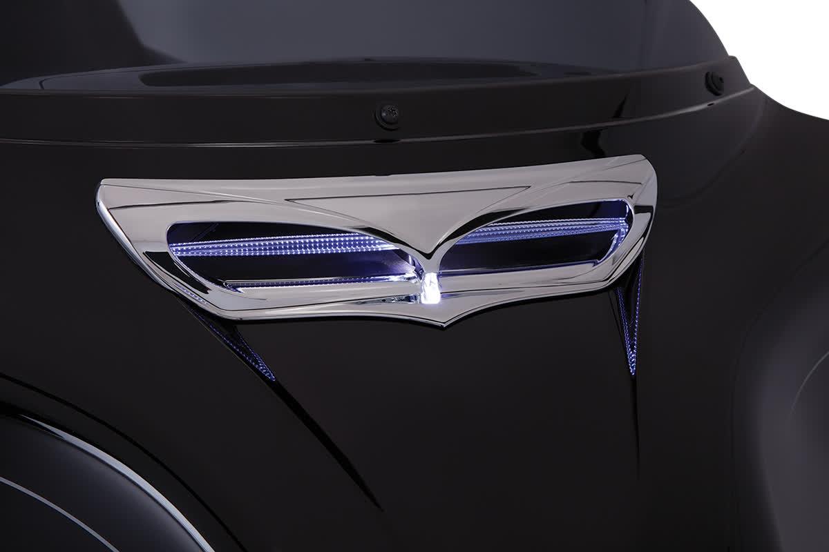 Ciro 40010 Fairing Vent Trim with LED  Chrome