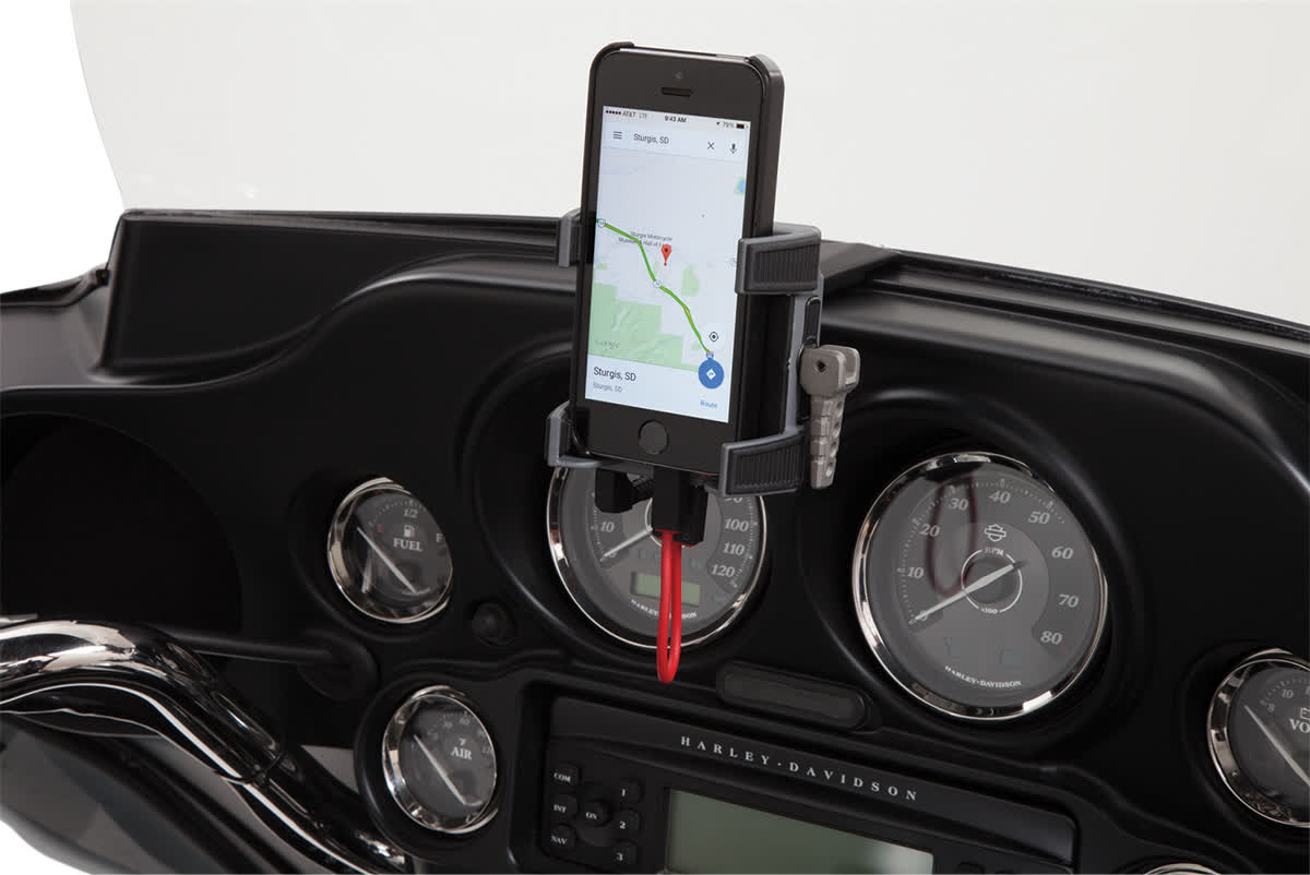 Ciro 50217 Smartphone Holder w/ Charger with Fairing Mount  Black