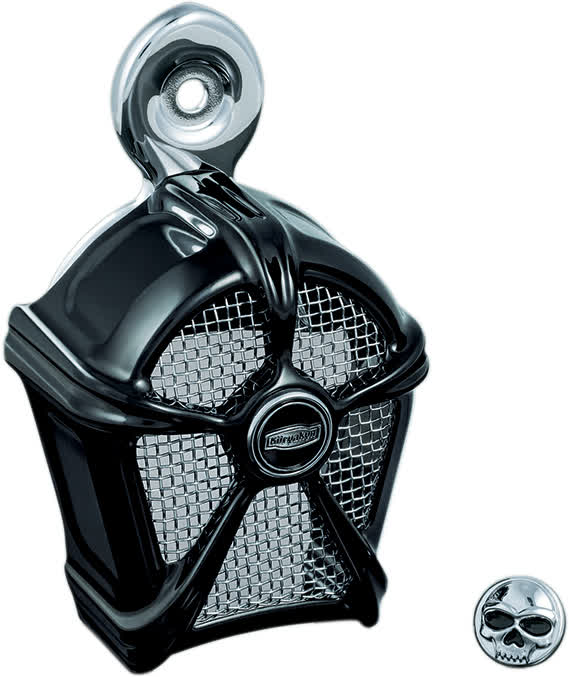 Kuryakyn - 7297 - Mach 2 Horn Cover, Gloss Black with Chrome Mesh