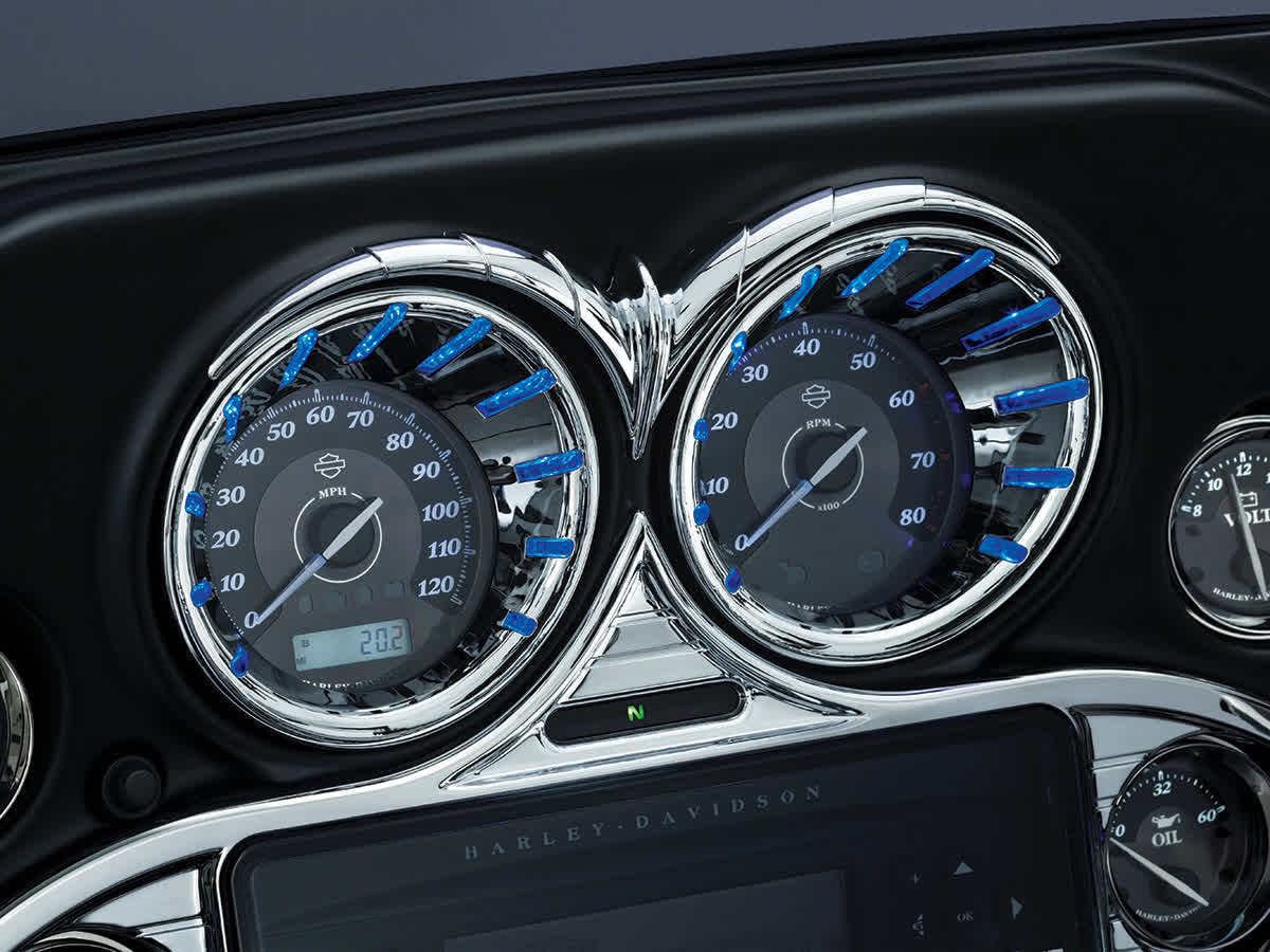 Kuryakyn - 7289 - LED Speedo & Tach Bezels, Chrome