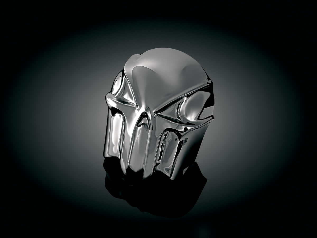 Kuryakyn - 7741 - Skull Horn Cover, Painted Black Chrome