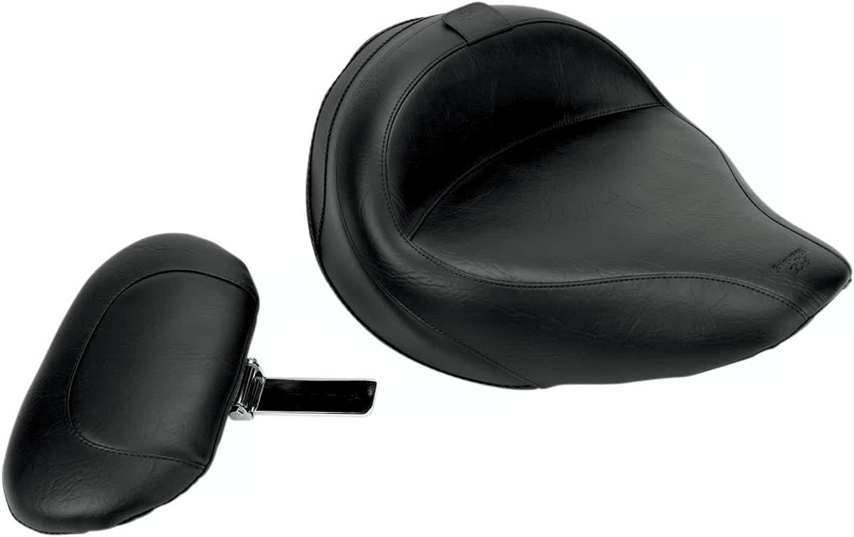 Mustang 79454 Wide Touring Solo Seat with Driver Backrest Vintage