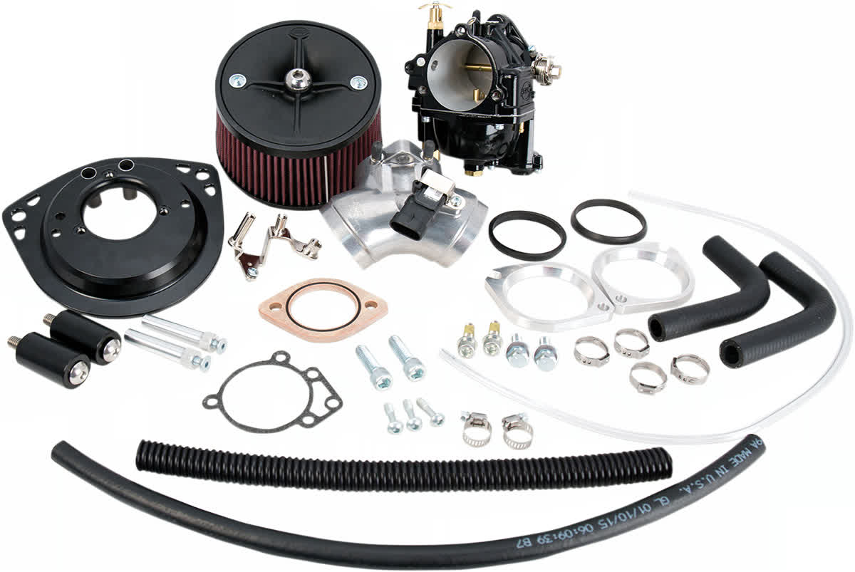 S&S Cycle 110-0120 Super G Carburetor Kit T143 Black w/16-3627 Manifold Harley