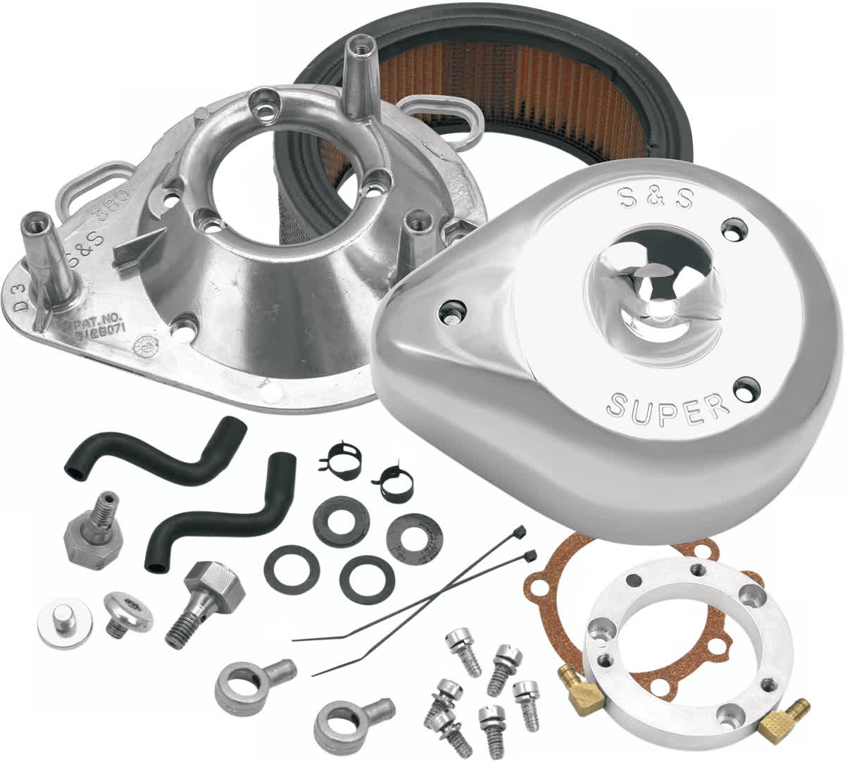 S&S Cycle 17-0450 Teardrop Air Cleaner Kit Stock CV & EFI
