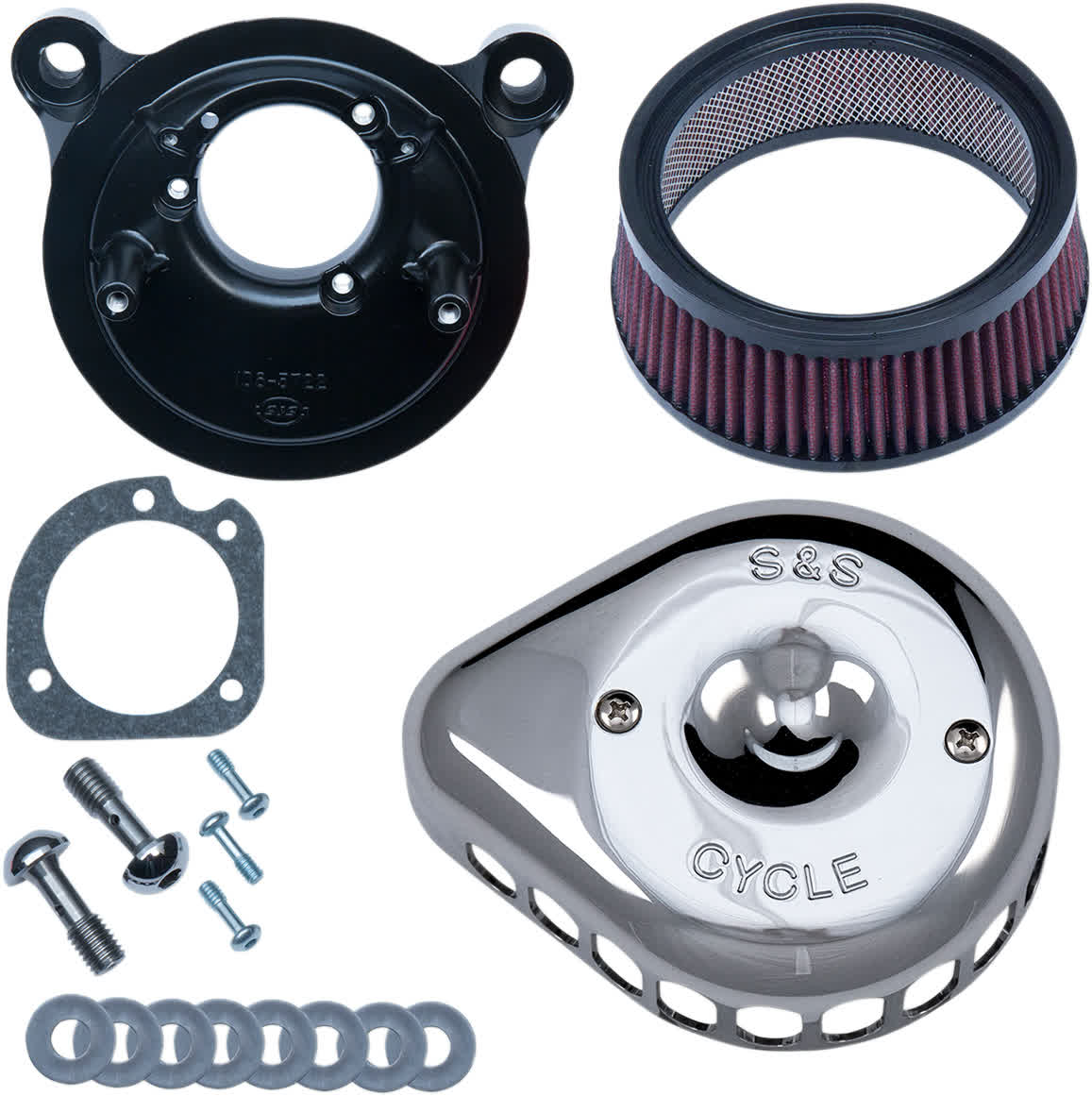 S&S Cycle 170-0441 Mini Teardrop Stealth Air Cleaner Kit Chrome 01-17 Twin Cam