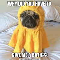 WHY DID YOU HAVE TOGIVE ME A BATH??