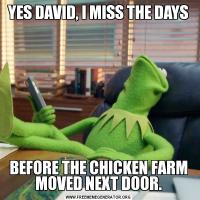 YES DAVID, I MISS THE DAYSBEFORE THE CHICKEN FARM MOVED NEXT DOOR.
