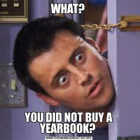 WHAT? YOU DID NOT BUY A YEARBOOK?