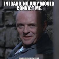 IN IDAHO, NO JURY WOULD CONVICT ME.