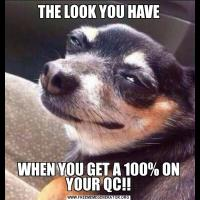 THE LOOK YOU HAVEWHEN YOU GET A 100% ON YOUR QC!!