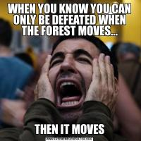 WHEN YOU KNOW YOU CAN ONLY BE DEFEATED WHEN THE FOREST MOVES...THEN IT MOVES