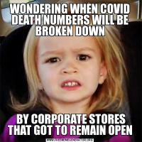 WONDERING WHEN COVID DEATH NUMBERS WILL BE BROKEN DOWN BY CORPORATE STORES THAT GOT TO REMAIN OPEN