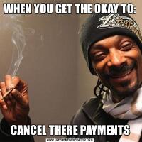 WHEN YOU GET THE OKAY TO:CANCEL THERE PAYMENTS