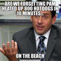 ARE WE FORGETTING PAM HEATED UP 800 HOTDOGS IN 10 MINUTES...ON THE BEACH