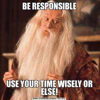 BE RESPONSIBLEUSE YOUR TIME WISELY OR ELSE!