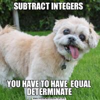 SUBTRACT INTEGERS YOU HAVE TO HAVE  EQUAL DETERMINATE