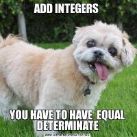 ADD INTEGERS YOU HAVE TO HAVE  EQUAL DETERMINATE