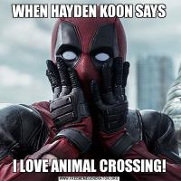 WHEN HAYDEN KOON SAYSI LOVE ANIMAL CROSSING!