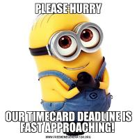 PLEASE HURRYOUR TIMECARD DEADLINE IS FAST APPROACHING!