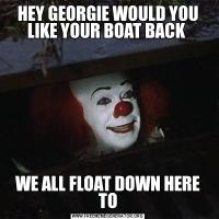 HEY GEORGIE WOULD YOU LIKE YOUR BOAT BACK WE ALL FLOAT DOWN HERE TO