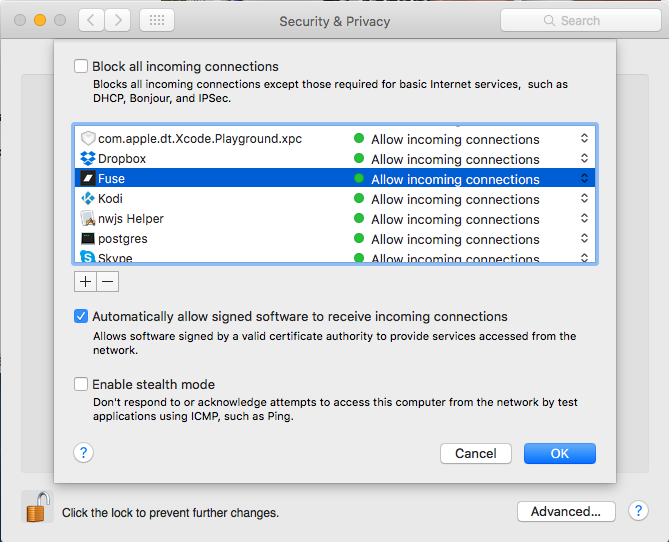 Problem with incoming connections to Fuse in Mac OS X El Capitan