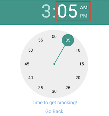 timepicker minutes selected