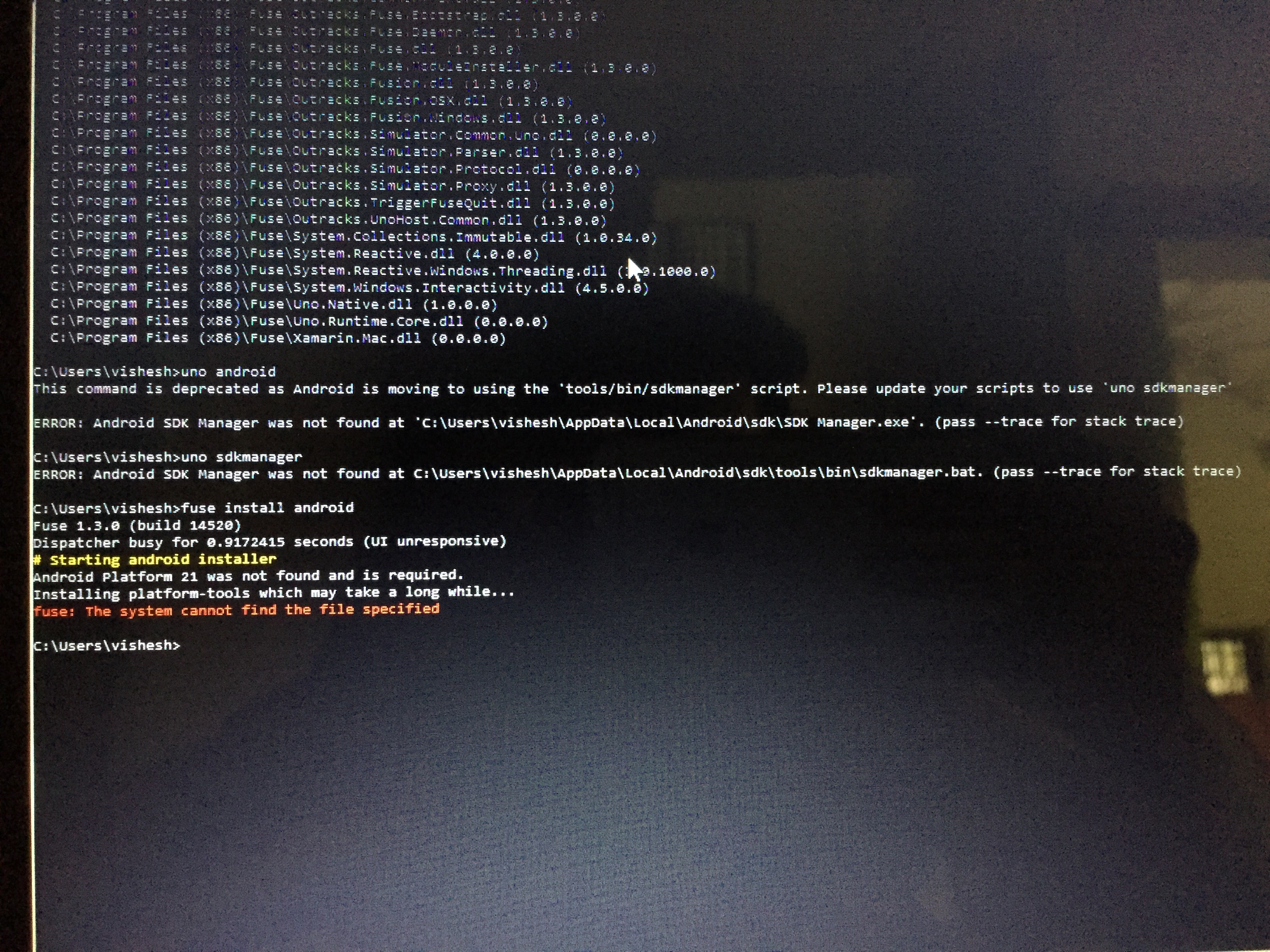 Unable to Run fuse install android - Bug Reports - Fuse