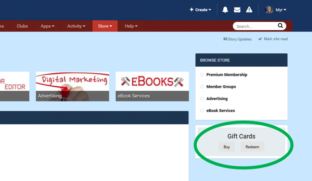 Screenshot of Gift Card location in Store