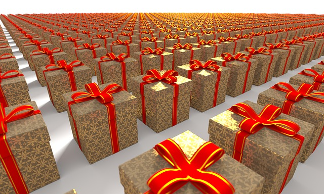 Rows upon rows of gold presents with red bows.
