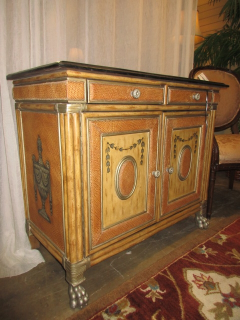 Painted Rattan Cabinet At The Missing Piece