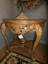 Ornate Glass Top Accent Table
