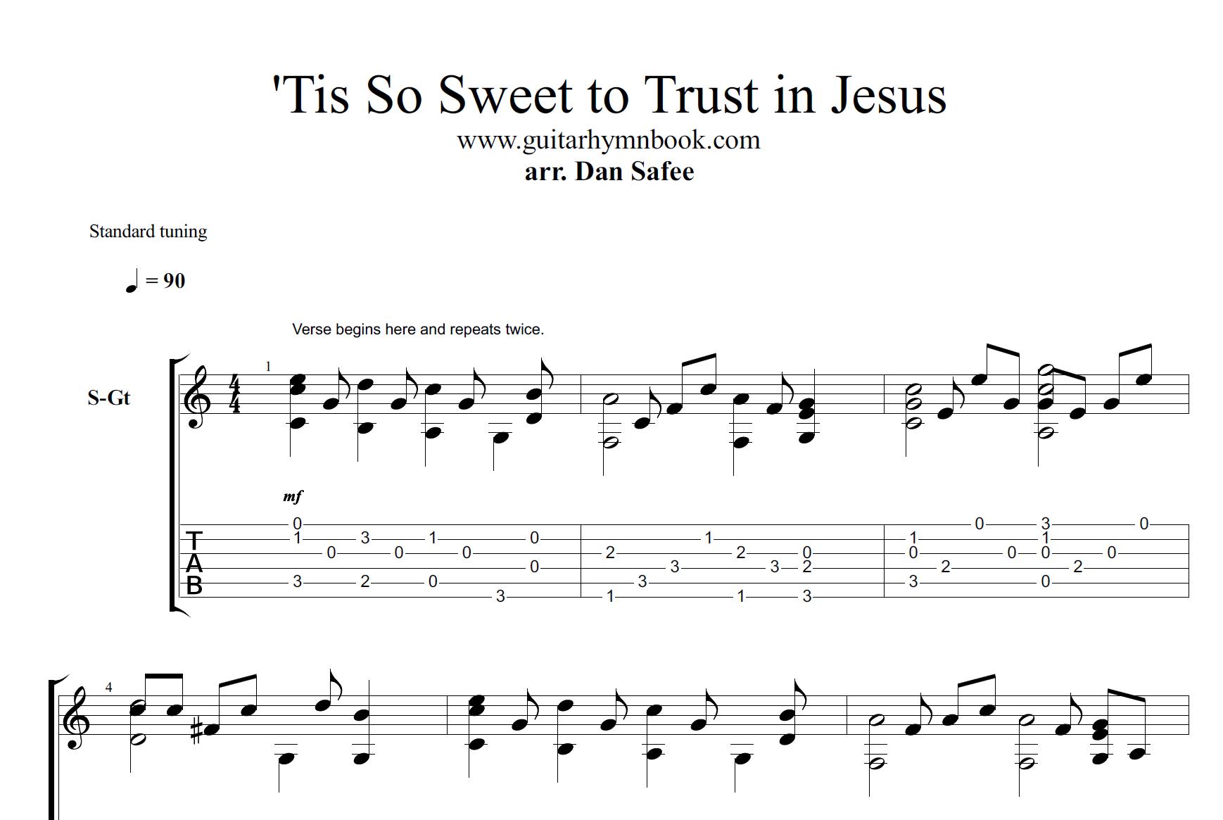 Guitar Hymn Book Tis So Sweet To Trust In Jesus