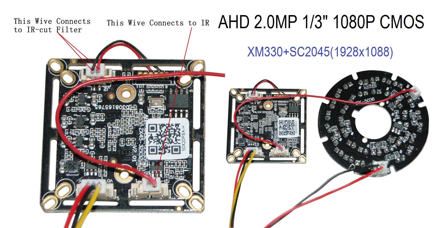 """AO21 Sunvision 2.0MP AHD 1080p 1//2.7/"""" HD CMOS Board Camera w// OSD"""