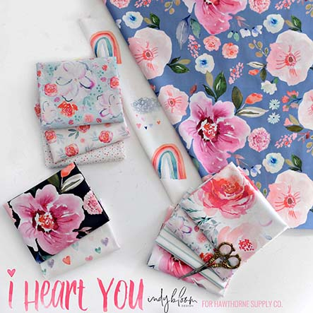 Indy Bloom - I Heart You Fabric Collection