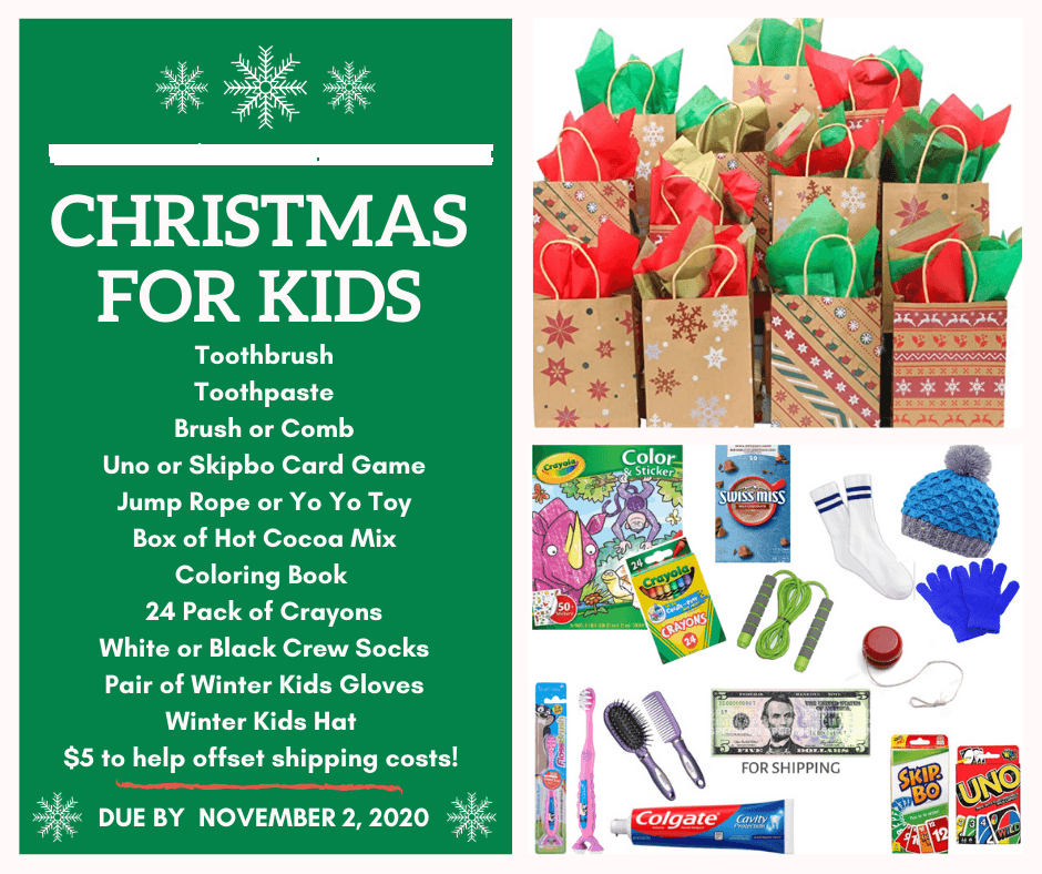 List of items for gift bags, also provided in text after this image