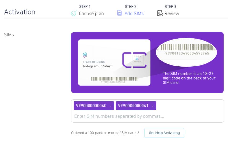 SIM activation form