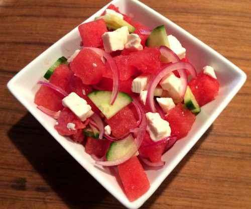 Watermelon, Cucumber, & Feta Salad with Honey Lime Dressing